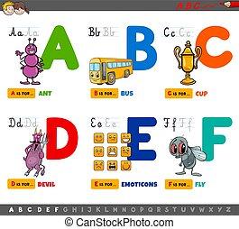 caricatura, letras, alfabeto, educacional, crianças