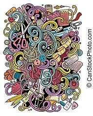 caricatura, lindo, doodles, mano, dibujado, hechaa mano,...