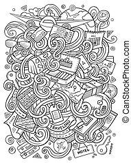 caricatura, lindo, doodles, viajar, ilustración