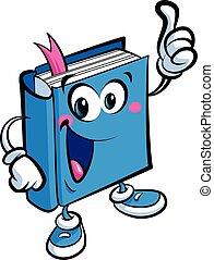 caricatura, lindo, libro, mascota, carácter, un, educación, y, aprendizaje, concepto