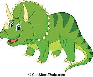 caricatura, lindo, triceratops