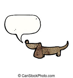 caricatura, linguiça, cão