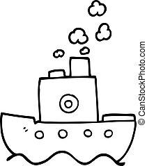 caricatura, linha, vapor, bote, desenho