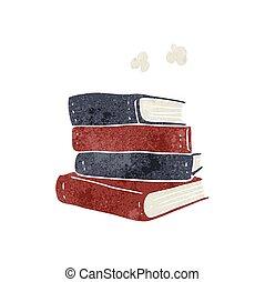 caricatura, livros, pilha, retro