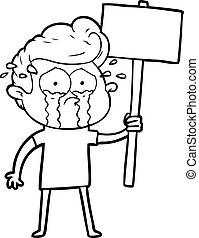 caricatura, llanto, protestador