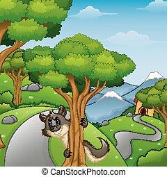 caricatura, lobo, floresta, estrada, espreitando