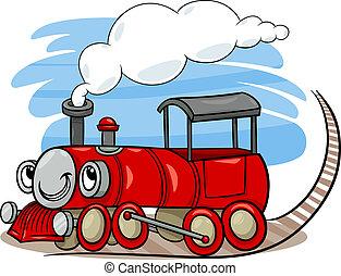 caricatura, locomotiva, ou, motor, personagem