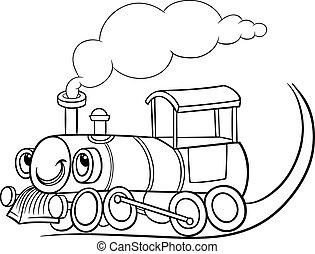 caricatura, locomotora, o, motor, colorido, página