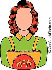 caricatura, mãe, ícone