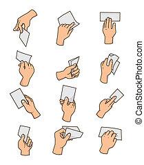 caricatura, mão cartão