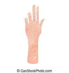 caricatura, mão, retro, alcançar
