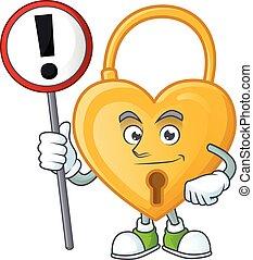 caricatura, mão, seu, sinal, mascote, amor, padlock, trazer