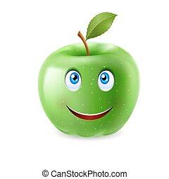 caricatura, maçã