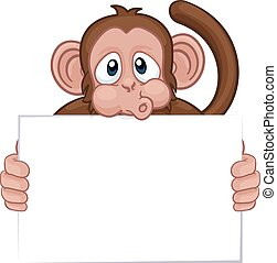 caricatura, macaco, animal, segurando, sinal, personagem