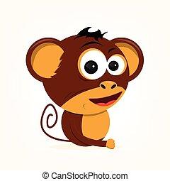 caricatura, macaco