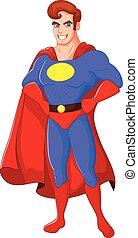 caricatura, macho, superhero, posar