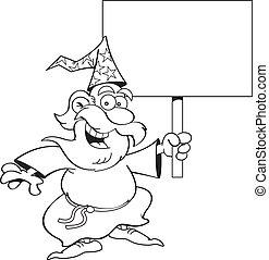 caricatura, mago, con, un, señal, (black, y