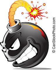 caricatura, mal, bomba