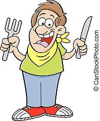 caricatura, man., faminto
