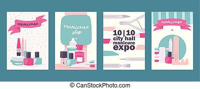 caricatura, manicure, cartões, para, beleza, loja, ou,...