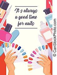 caricatura, manicure, impressão, poster., vetorial,...