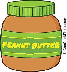 caricatura, mantequilla, tarro, maní