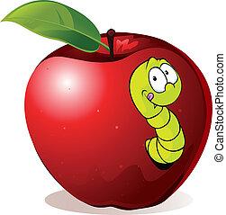 caricatura, manzana roja, ilustración, gusano