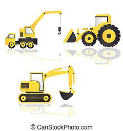caricatura, maquinaria construção