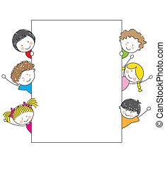 caricatura, marco, niños, lindo