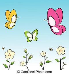 caricatura, mariposas, y, flores