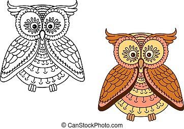 caricatura, marrón, búho, pájaro, con, rayado, cuerpo