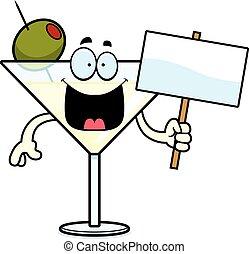 caricatura, martini, señal
