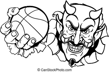 caricatura, mascota, baloncesto, deportes, satanás, diablo