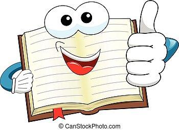 caricatura, mascota, libro, pulgar up, aislado