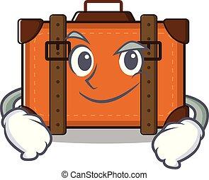 caricatura, mascota, maleta, el smirking