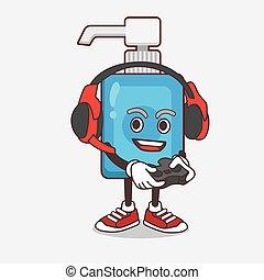 caricatura, mascote, fone, mão, sanitizer, personagem, jogo, jogo, controlador