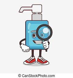 caricatura, mascote, mão, sanitizer, personagem, desenho, detetive