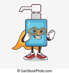 caricatura, mascote, mão, sanitizer, personagem, herói super, vestido