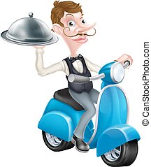 caricatura, mayordomo, en, patineta, ciclomotor, entregar,...