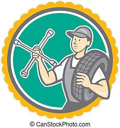 caricatura, mecánico, escarapela, neumático, llave inglesa