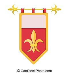 caricatura, medieval, ícone, agasalho