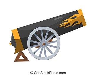 caricatura, medieval, gun., imagen, pirata, barcos, color, cannon., antigüedad, estilo, viejo, blanco, fondo., cañón, vendimia