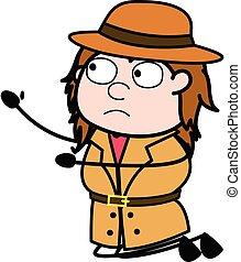caricatura, mendigar, investigador