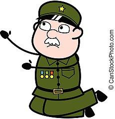 caricatura, mendigar, militar, hombre