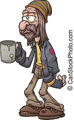caricatura, mendigo