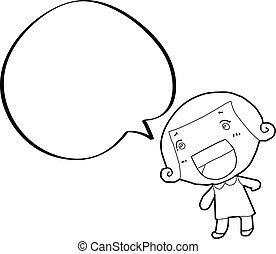 caricatura, menina, com, borbulho fala