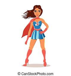 caricatura, menina, em, superhero, traje