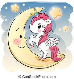 caricatura, menina, lua, unicórnio