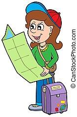 caricatura, menina, viajante