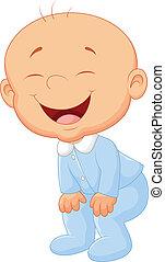 caricatura, menino bebê, rir